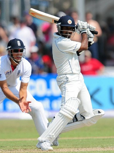 Prasanna Jayawardene plays a shot during the first Test match between Sri Lanka and England at Galle.
