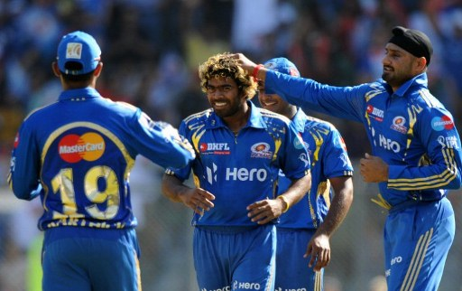 Lasith Malinga bowling for the Mumbai Indians at the IPL.