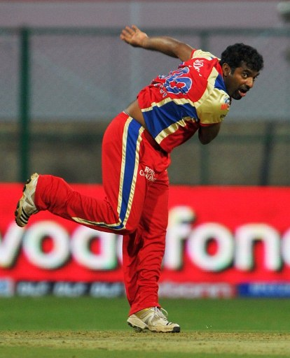 Muttiah Muralitharan in RCB colours.