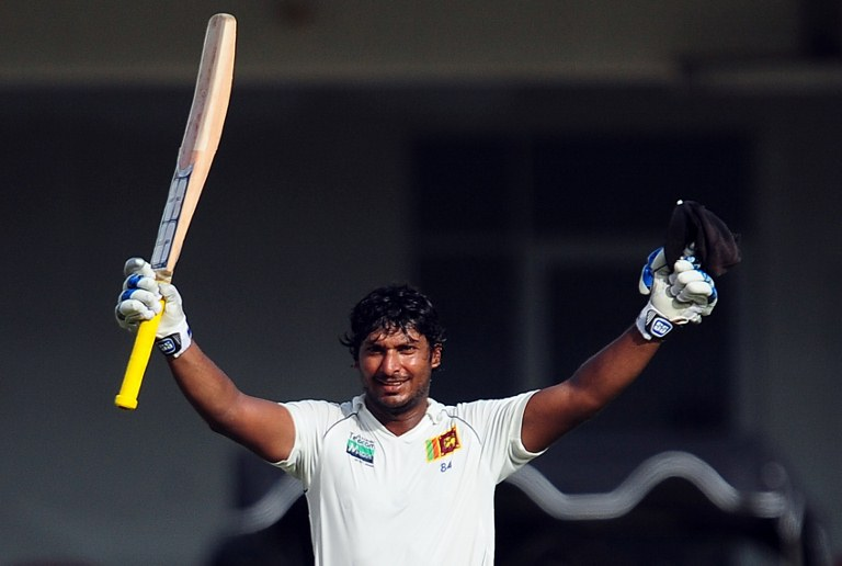 Kumar Sangakkara celebrates after scoring a century during the the second Test match against Pakistan.