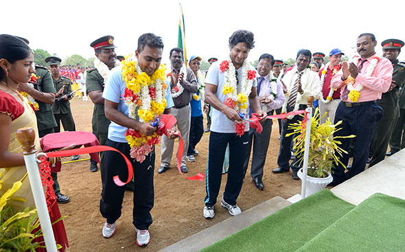 Mahela Jayawardene and Kumar Sangakkara open the IODR Oval. © Murali Cup