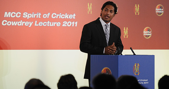 Kumar Sangakkara delivering the 11th MCC Cowdrey Lecture at Lord's.