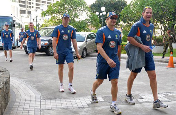 Australian cricketers hit the streets of Colombo.