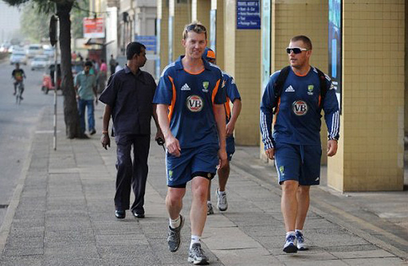 The Austrsalian cricket team walking around Colombo.