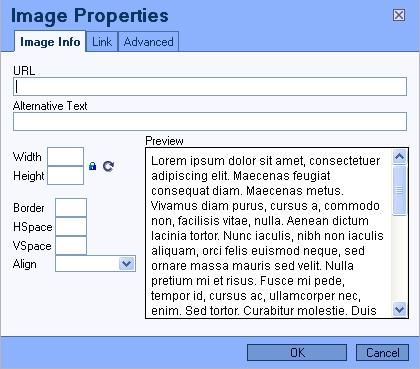 Image Properties Window