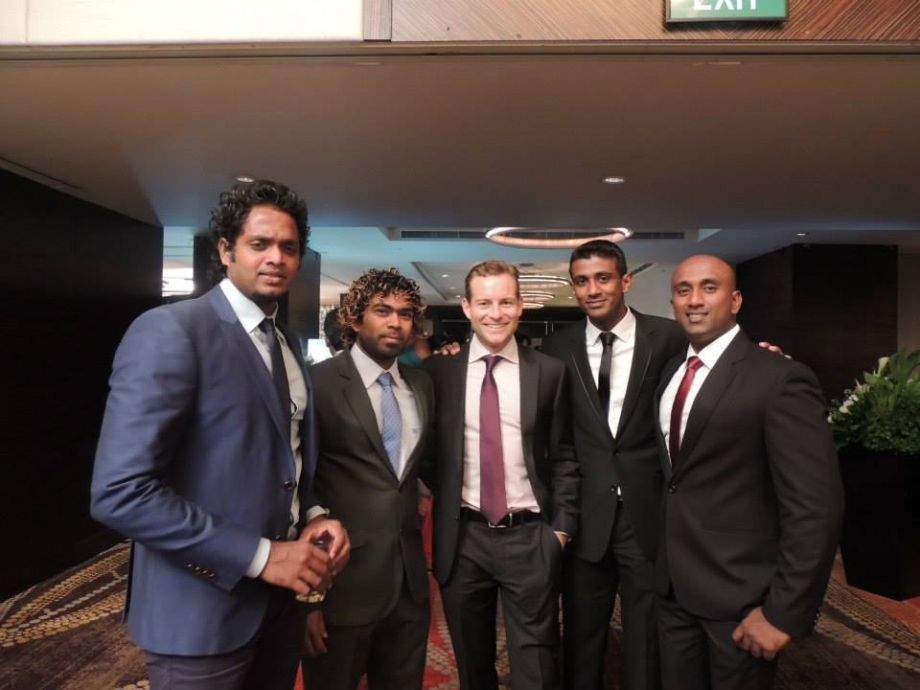 Malinga, Maharoof, Mount and Fernando at Mathews' wedding