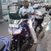 Lasith Malinga talks to fans on his motor bike