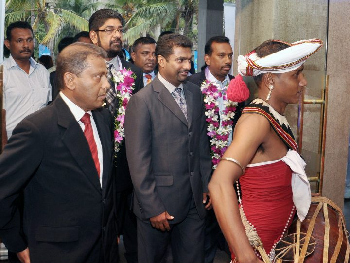 Murali arrives for Schoolboy Cricketer of the Year award ceremony 2011