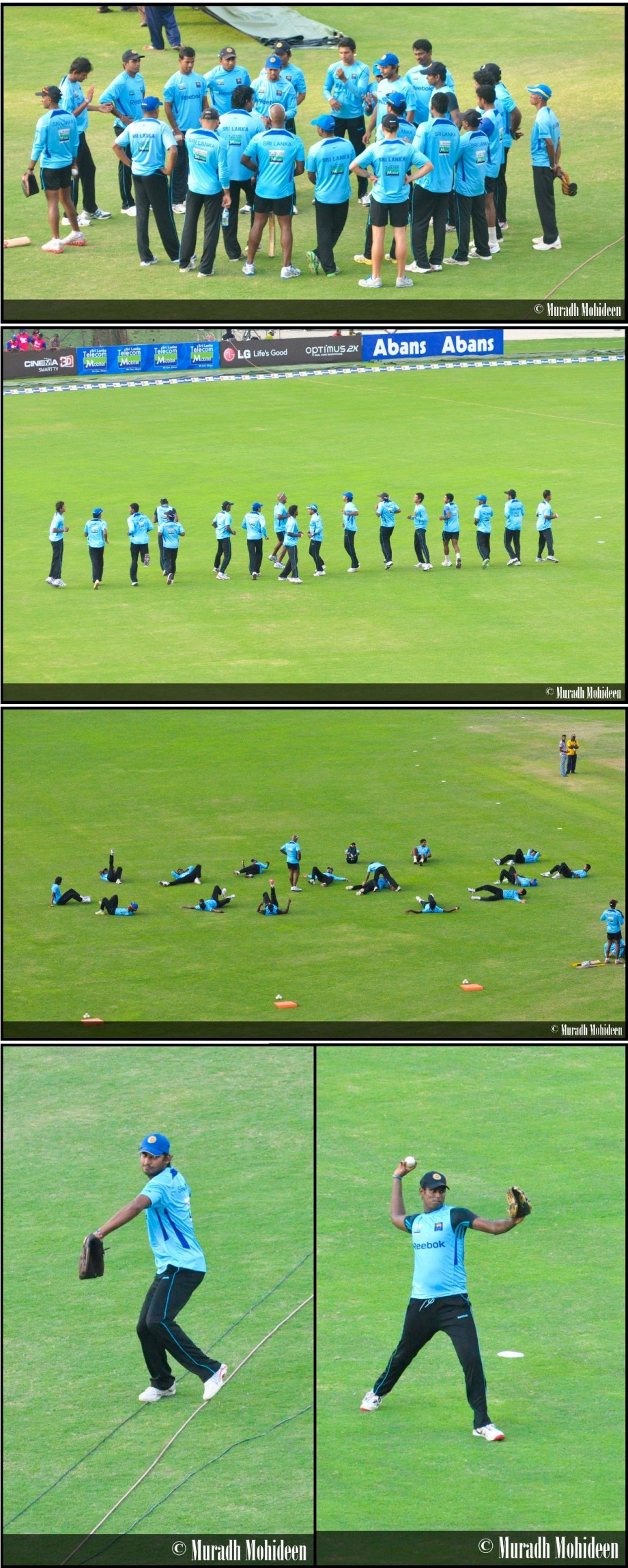 Sri Lankan team warming up before the 2nd T20 2011 at Pallekele