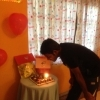 Thirimanne blowing his birthday candles