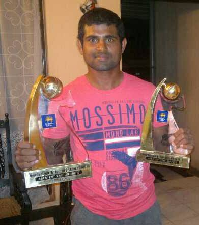 Kaushal Silva poses with his trophies from SL A vs NZ A unofficial Test series