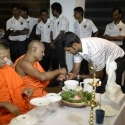 Kandurata skipper Thirimanne getting blessings from a monk