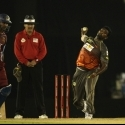 Thissara Perera bowls during the second CLT20 qualifier