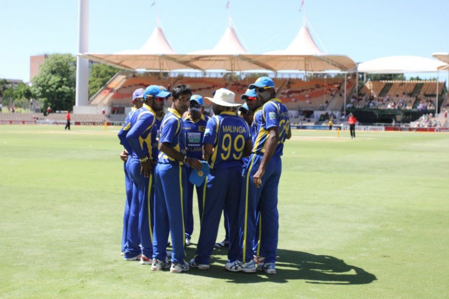 Sri Lanka prepare to take the field for the third final