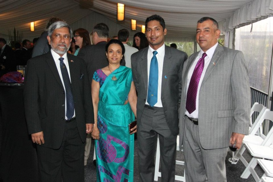 Sangakkara poses with Sri Lankan high commissioner to Australia