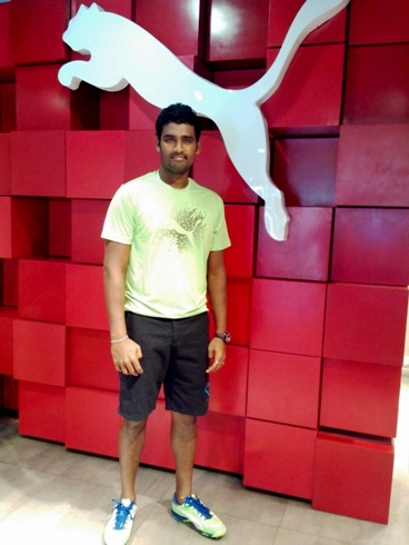 Thisara Perera with his new PUMA cricket spikes