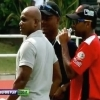 Jayasuriya, Lara and Mahela having a chat before a CPL match