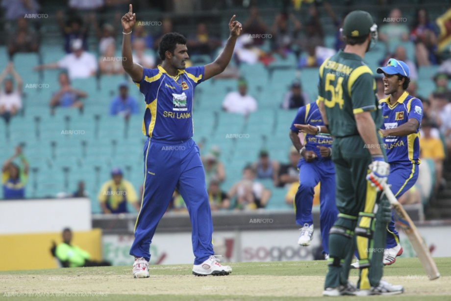 Thisara Perera celebrates the wicket of Daniel Christian