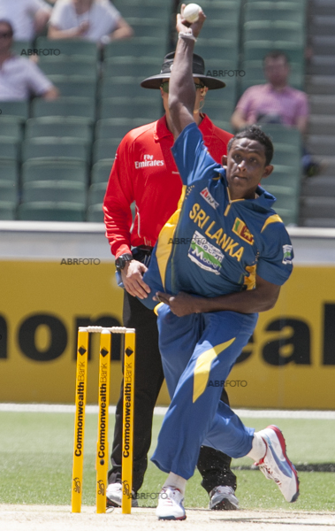 Ajantha Mendis in action at the MCG