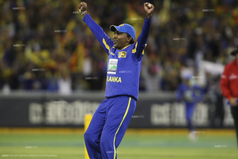 Mahela Jayawardena celebrates after win