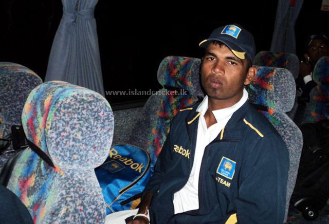 Tharanga Paranavitana in the team bus