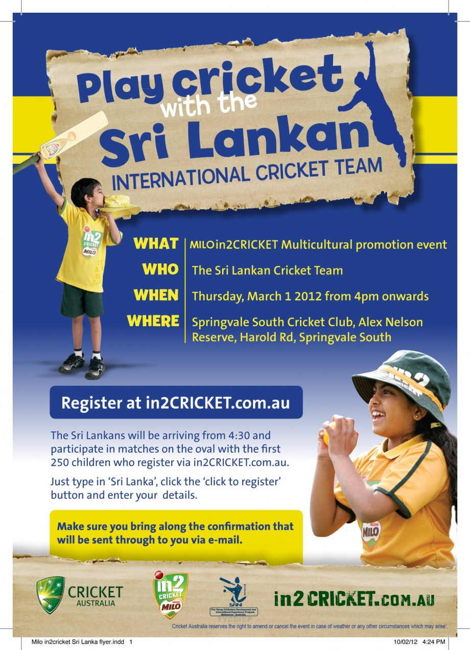 Play cricket with the Sri Lankan team in Melbourne