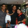 Sangakkara and daughter pose with fans