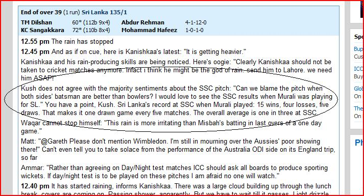 My comment about SSC pitch on Cricinfo