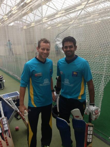 Mount and Thirimanne at Sri Lanka's first practise session in England ahead of Champions Trophy