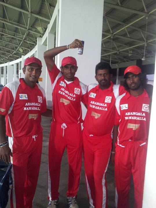 Cricketers pose during LPL match