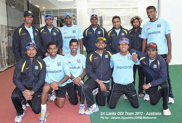 Sri Lankan players during a net session in Australia, 2012