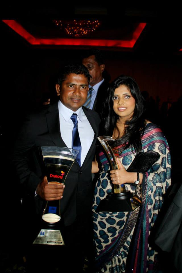 Herath and wife and Dialog Cricket Awards