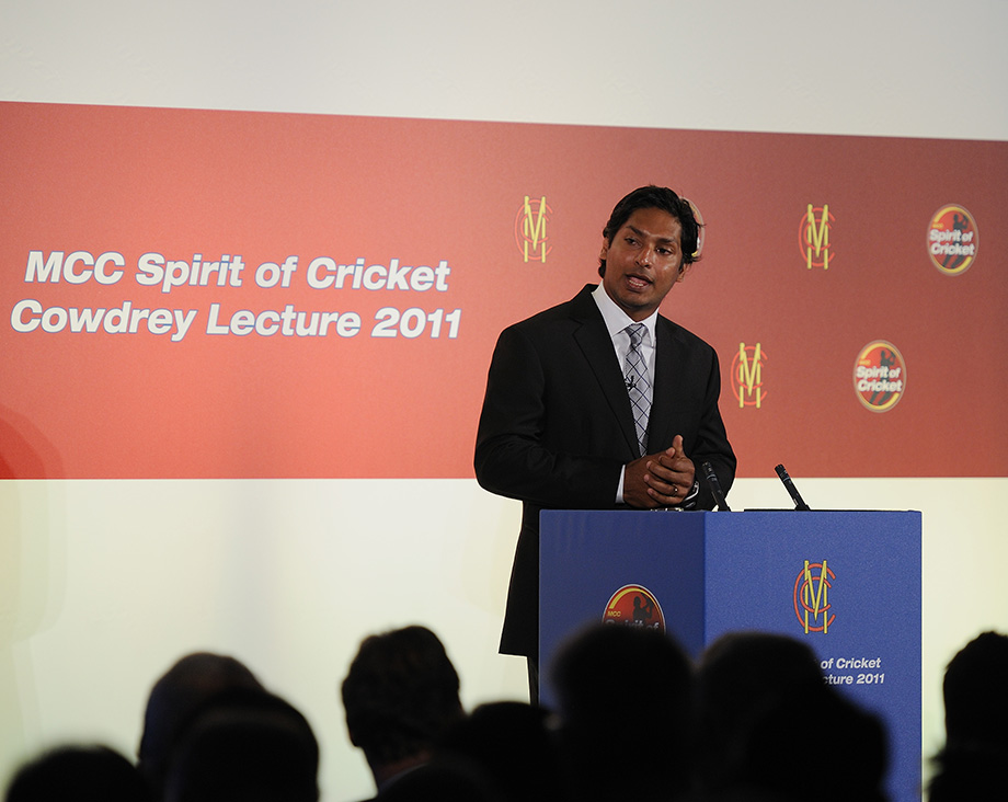 Sangakkara delivering the Cowdrey lecture at Lord's