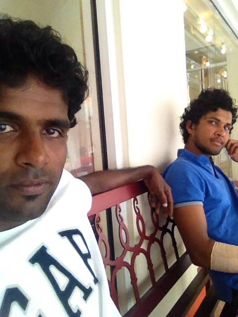 Eranga and Chandimal relaxing