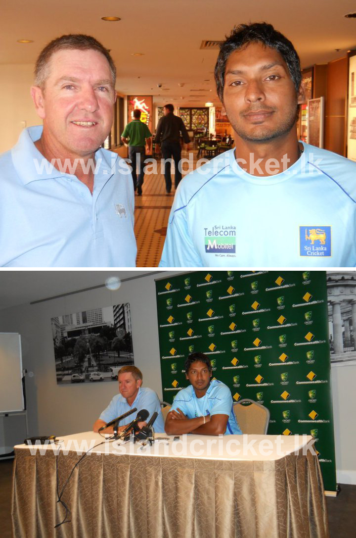 Sangakkara and Bayliss talking to the media in Australia