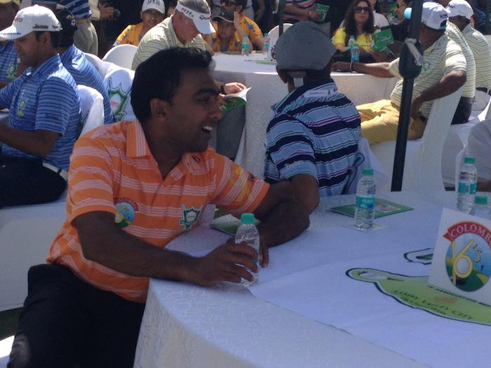 Mahela cheering for his golf team at the Golf Premier League