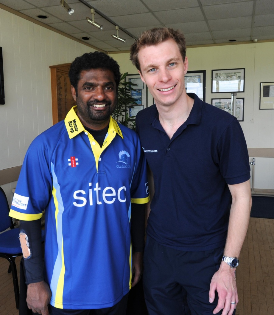Murali with BBC Gloucestershire's Adam Pinder-Smith