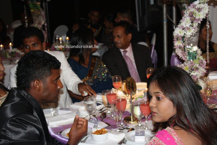 Thisara Perera at Ajantha Mendis' wedding