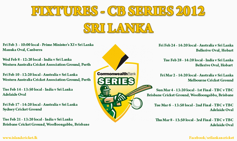 CB Series 2012 - Schedule/Fixtures