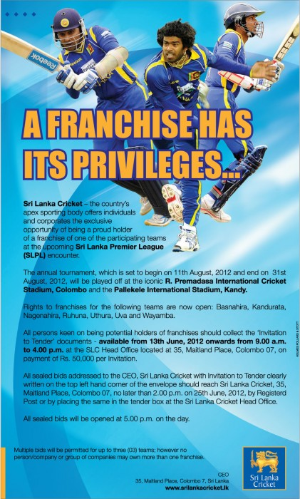 SLPL team franchise tender