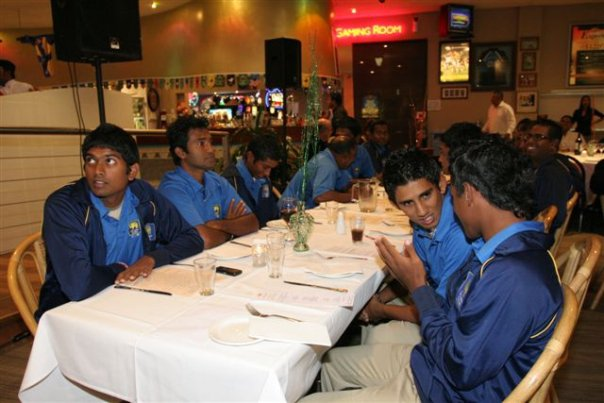 Dinner time for the Sri Lanka U19 cricketers touring Australia
