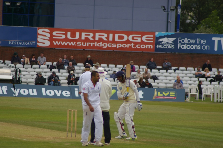 Sanga joking with the umpire