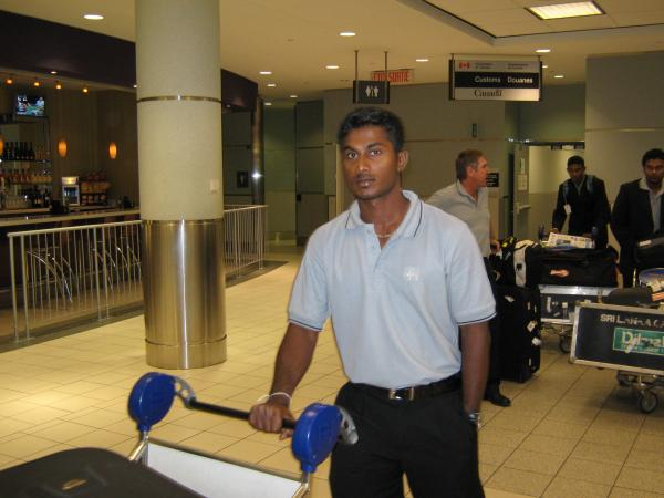 Mahela Udawatte at Toronto International Airport