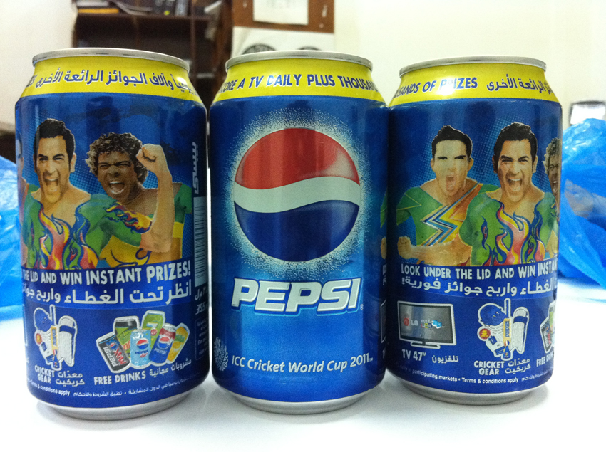 Lasith Malinga on Pepsi can in Qatar
