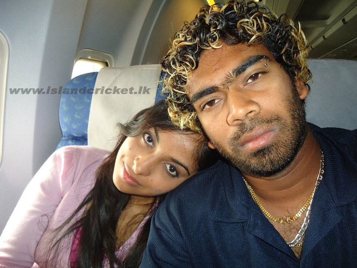 Lasith Malinga with his wife