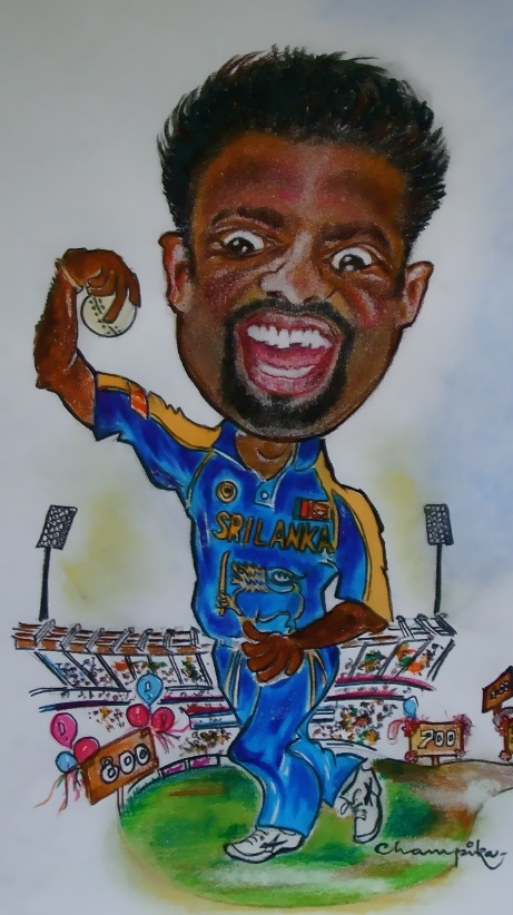 Murali caricature - all the best for 800!