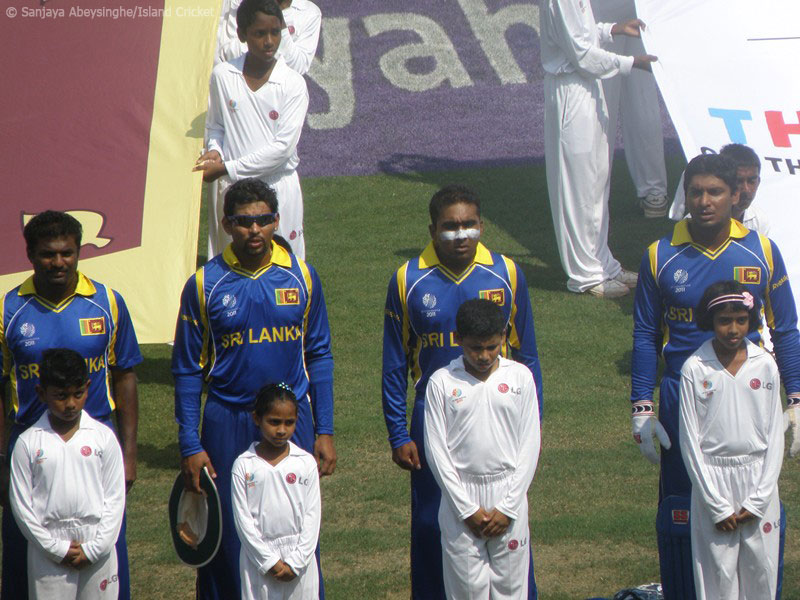 Murali, Dilshan, Jayawardene, Sangakkara during the national anthem