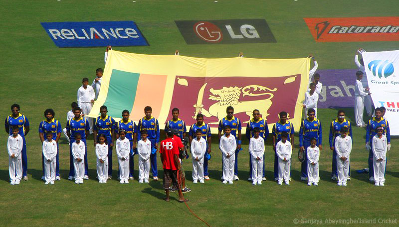 The Sri Lankan team during the national anthem