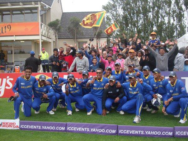 Sri Lanka U19 team celebrates after winning the QF of the World Cup