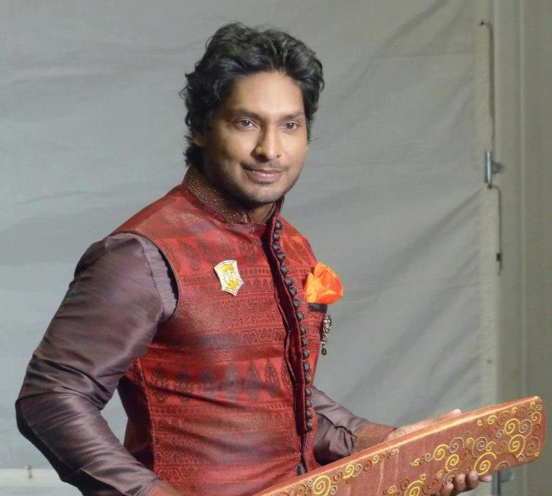 Kumar Sangakkara in a traditional Indian dress